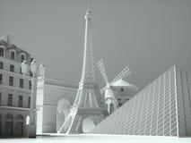 De oriëntatiepuntenachtergrond van Parijs het 3d teruggeven Stock Fotografie