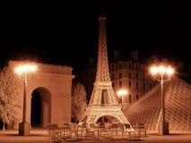 De oriëntatiepuntenachtergrond van Parijs het 3d teruggeven Stock Foto's