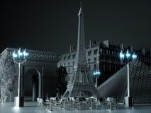 De oriëntatiepuntenachtergrond van Parijs het 3d teruggeven Royalty-vrije Stock Fotografie