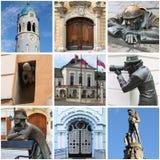 De oriëntatiepuntencollage van Bratislava Stock Foto's