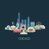 De oriëntatiepuntenhorizon van Chicago Stock Fotografie