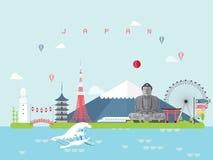 De Oriëntatiepuntenreis van Japan en Reisvector Royalty-vrije Stock Afbeelding