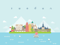 De Oriëntatiepuntenreis van Zweden en Reisvector Stock Afbeelding