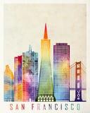 De oriëntatiepuntenwaterverf van San Francisco stock illustratie
