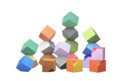 De origami Columbus Towers, varicolored kubussen Stock Fotografie