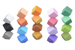 De origami Columbus Towers, varicolored kubussen Royalty-vrije Stock Foto's