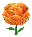 De origami nam met muzieknoten toe Royalty-vrije Stock Foto's
