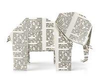 De origamidocument van de olifant stuk speelgoed Royalty-vrije Stock Foto