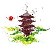De origamitempel van Japan van vliegende vogels wordt gevormd die stock illustratie