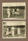 De originele antieke foto van 1915 - mensen die tennis spelen Stock Foto