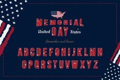 De originele Doopvont van de V.S. met Vlag en Kaart voor Memorial Day Latijns alfabet met een reeks brieven voor vakantie vlak royalty-vrije illustratie