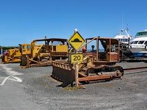 De originele manier van Nieuw Zeeland om boten uit het water te trekken Dit men is voor verkoop royalty-vrije stock foto's