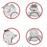 De originele pictogrammen, bestuurder, ezel, koe, dragen, varken stock afbeelding