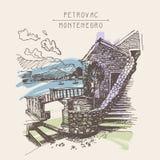 De originele sepia tekening van de inktschets van oud fort in Petrovac-Mo stock illustratie