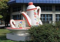 De originele stadsfontein en een kop thee, Ankara Stock Foto's