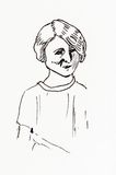 De originele tekening van de inktlijn Portret van een jaren '20meisje Stock Afbeelding