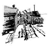 De originele zwart-witte tekening van de inktschets van oud fort royalty-vrije illustratie