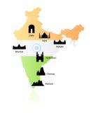 De oriëntatiepunten van India op kaartvector Royalty-vrije Stock Foto