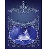 De ornamentachtergrond van gluurt een boe-geroepkaart Royalty-vrije Stock Foto's