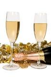 De ornamenten van Champagne en van Kerstmis. Royalty-vrije Stock Afbeeldingen