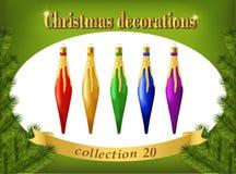 De ornamenten van Kerstmis Inzameling van decoratieve ijskegels Stock Foto