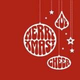 De ornamenten van Kerstmis met de woorden Royalty-vrije Stock Foto