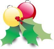 De Ornamenten van Kerstmis met Hulst Stock Afbeelding