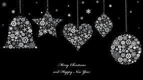 De ornamenten van Kerstmis van sneeuwvlokken. Stock Foto