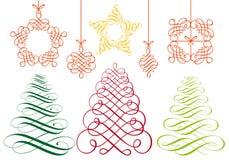 De ornamenten van Kerstmis, vectorreeks Stock Foto