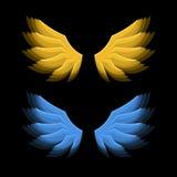 De oro ardiente y Blue Wings en fondo negro Vector Imagenes de archivo