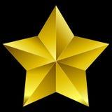 De oro de la estrella de la Navidad aislada en negro Fotos de archivo libres de regalías