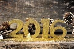 2016 de oro en brillos Fotografía de archivo