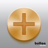 De oro más el botón Foto de archivo libre de regalías