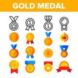 De oro, sistema de los iconos del color del vector de las medallas de bronce stock de ilustración