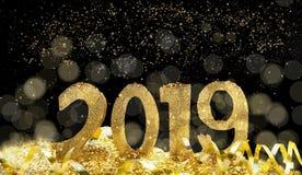 2019 de oro y Año Nuevo mágico fotografía de archivo libre de regalías