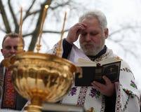 De orthodoxe Christenen vieren Epithany Stock Fotografie