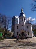 De Orthodoxe kerk in Solomensky-Park in Kiev Stock Foto