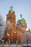 De Orthodoxe Kerk van Alle Heiligen in Riga. Stock Foto