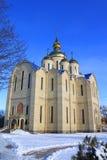 De orthodoxe kerk wordt gebouwd in 21 eeuwen. stock afbeelding
