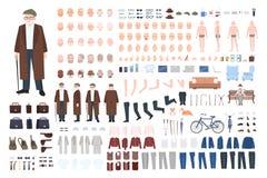 De oude aannemer van het mensenkarakter, verwezenlijkingsreeks Verschillende grootvaderhoudingen, kapsel, gezicht, benen, handen, Royalty-vrije Stock Foto
