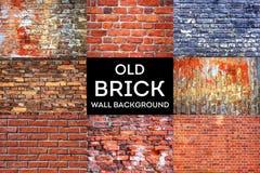 De oude achtergrond van de bakstenen muurtextuur grunge inzameling royalty-vrije stock afbeeldingen