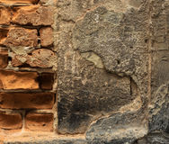 De oude achtergrond van de steenmuur, dichte omhooggaand van de bakstenen muur grunge textuur Stock Fotografie