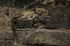 De oude achtergrond van de steenmuur, dichte omhooggaand van de bakstenen muur grunge textuur Royalty-vrije Stock Foto