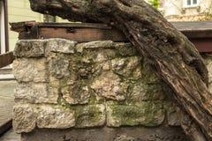 De oude achtergrond van de steenmuur, dichte omhooggaand van de bakstenen muur grunge textuur Stock Afbeeldingen