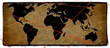 De oude Achtergrond van Grunge van de Wereldkaart Royalty-vrije Stock Afbeeldingen