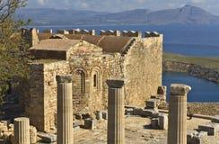 De oude akropolis van Lindos in Rhodos Stock Afbeeldingen