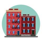 De oude Amerikaanse stads abstracte gebouwen De oude Manhattan huizen van New York De oude bouw en voorgevels van New York, vecto vector illustratie