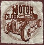 De oude Amerikaanse T-shirt Grafische Desig van de Auto Uitstekende Klassieke Retro mens Stock Foto's