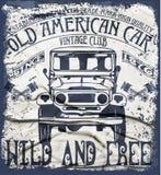 De oude Amerikaanse T-shirt Grafische Desig van de Auto Uitstekende Klassieke Retro mens Stock Afbeeldingen