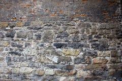De oude baksteen en steentextuur van de muurfoto royalty-vrije stock foto